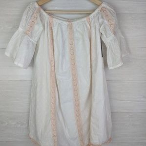 NWT Tularosa Revolve White Pink Lace Pom Pom Dress